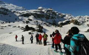 Grupo de 10 Usuarios de centros en una marcha en la nieve